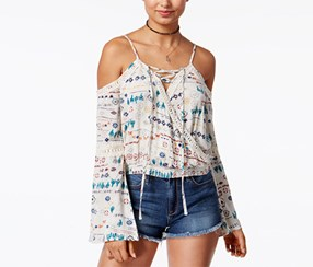 American Rag Women's Printed Cold-Shoulder Top, Beige