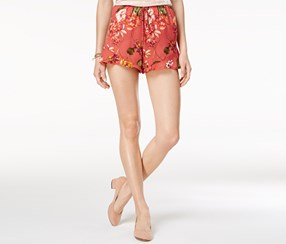 American Rag Women's Printed Ruffle-Hem Soft Shorts, Orange