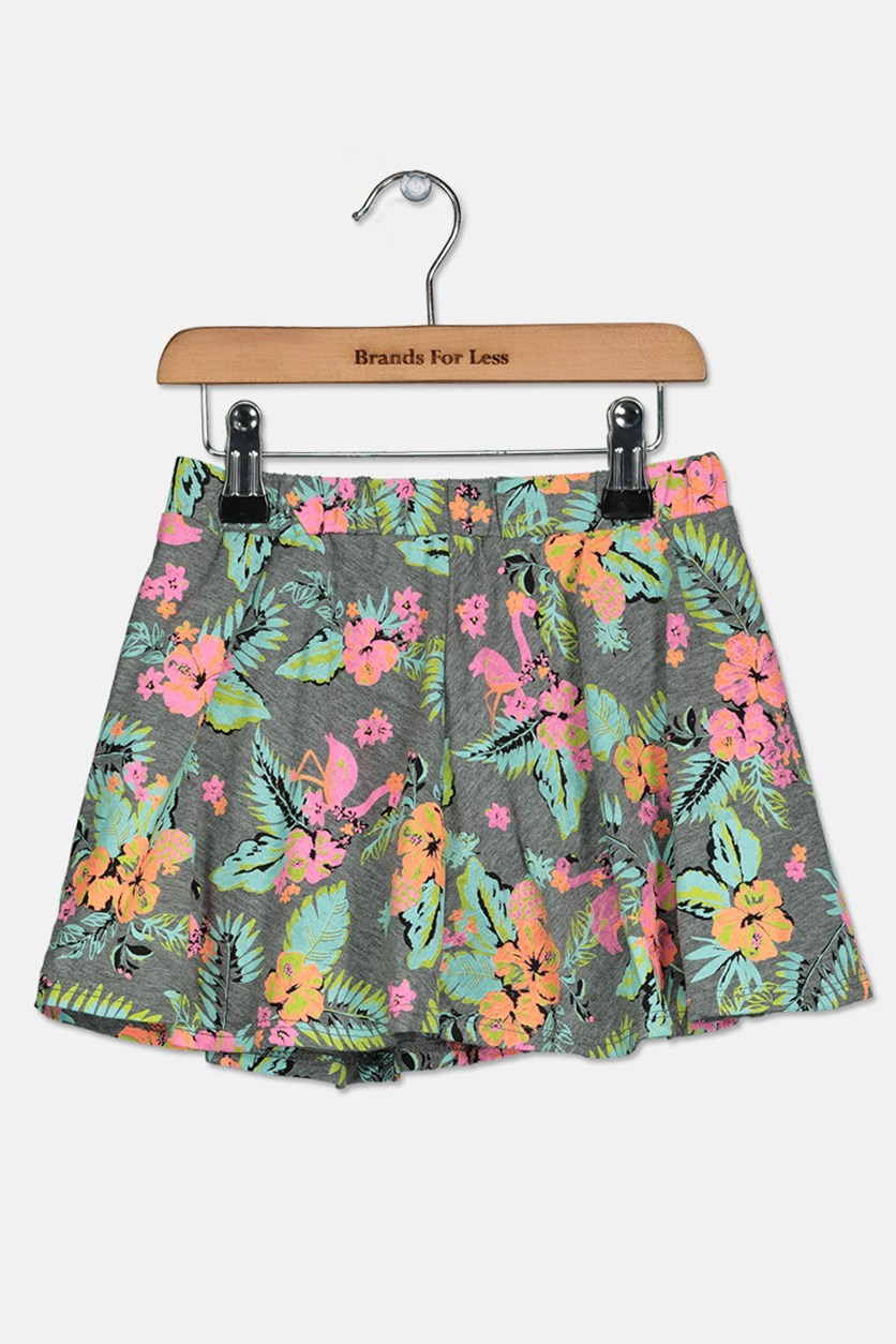 Girls Tropical-Print Scooter Skirt, Pewter