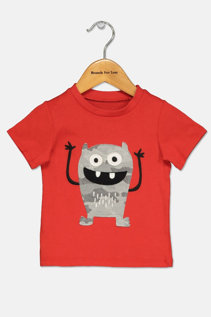 Baby Boy Monster-Print Cotton T-Shirt, Raging Red