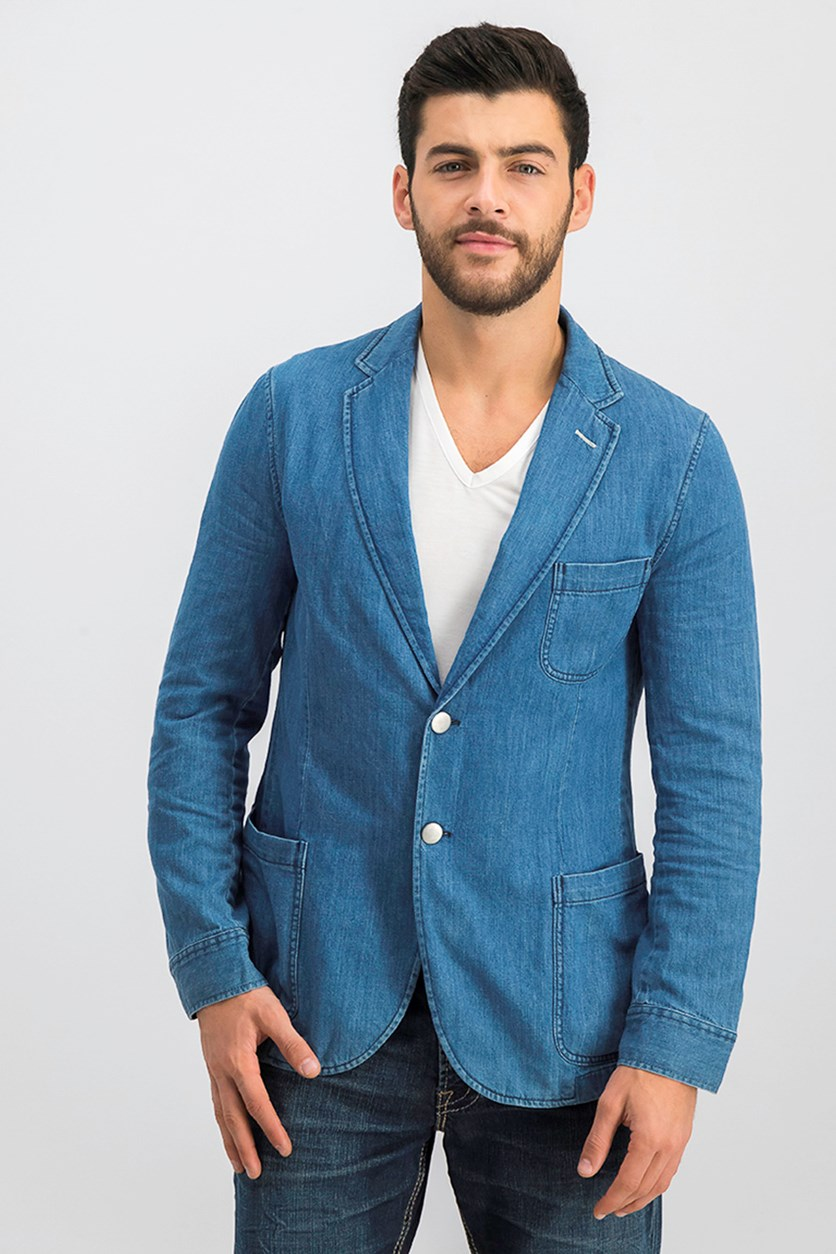 Men's Denim Blazer, Mid Blue Worn