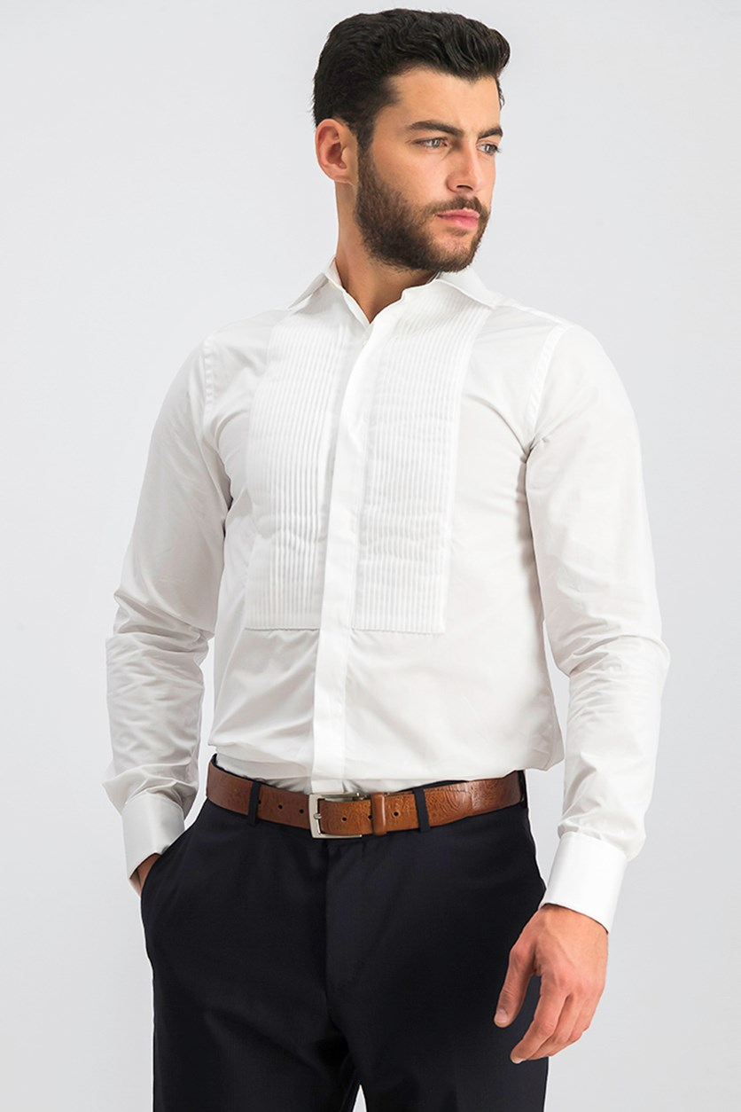 Men's Pleat Front Shirt, White