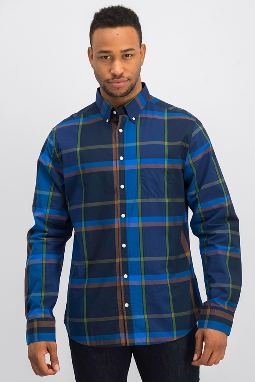 Men's Broadcloth  Shadow Plaid Shirt, Birch Green