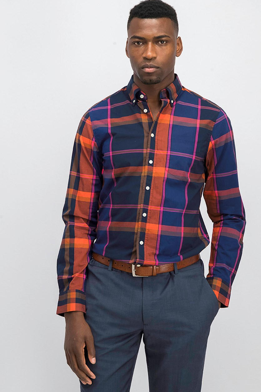 Men's Broadcloth Plaid Shirt, Navy/Rust Combo