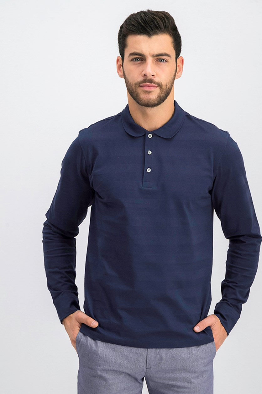 G. Tonal Stripe Long Sleeve Polo, Marine