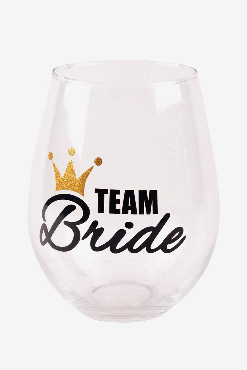 Oversized 28 Oz Stemless Glass Team Bride, Clear