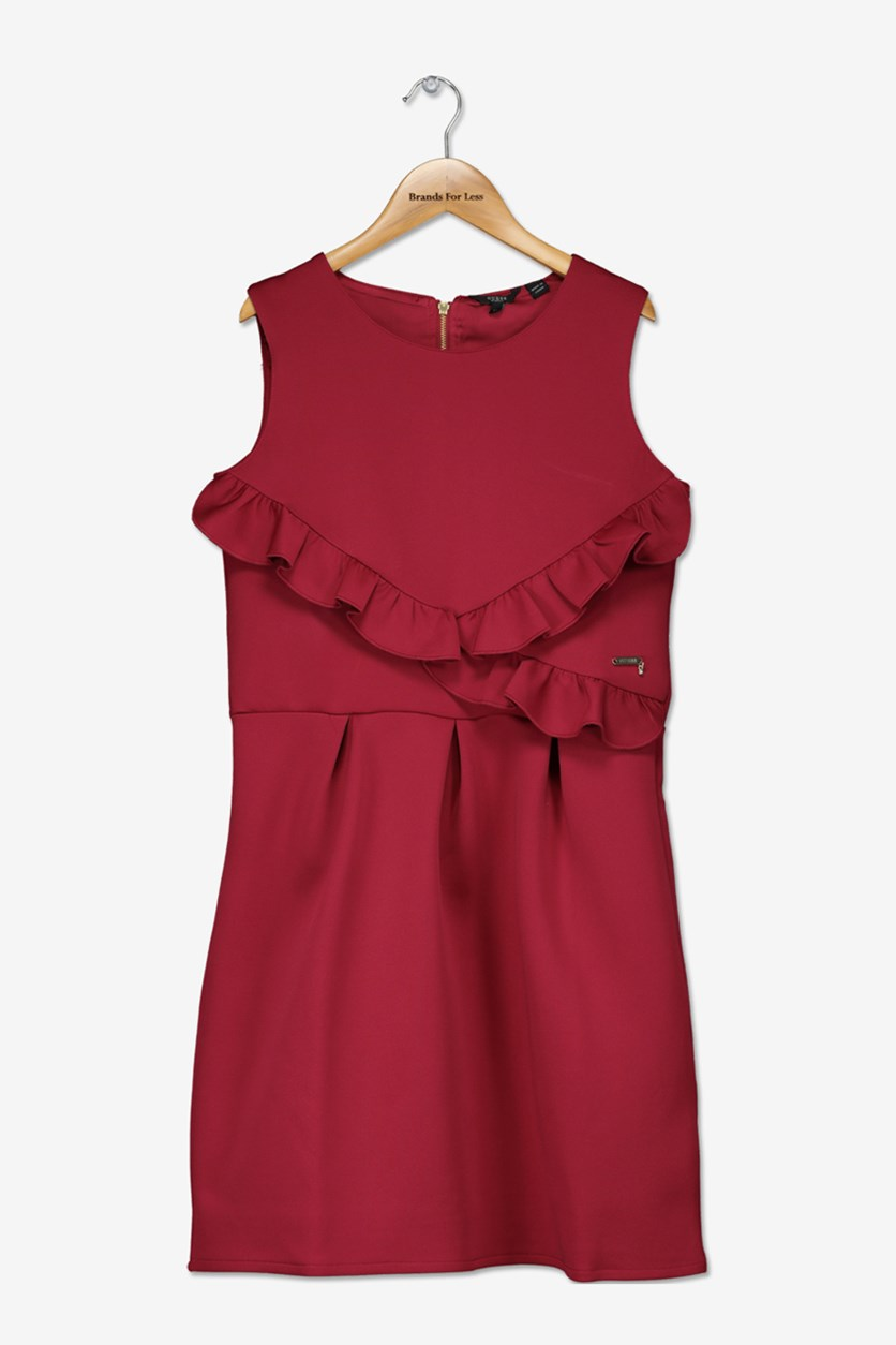 Kids Girls Sleeveless Ruffle Dress, Wild Berry