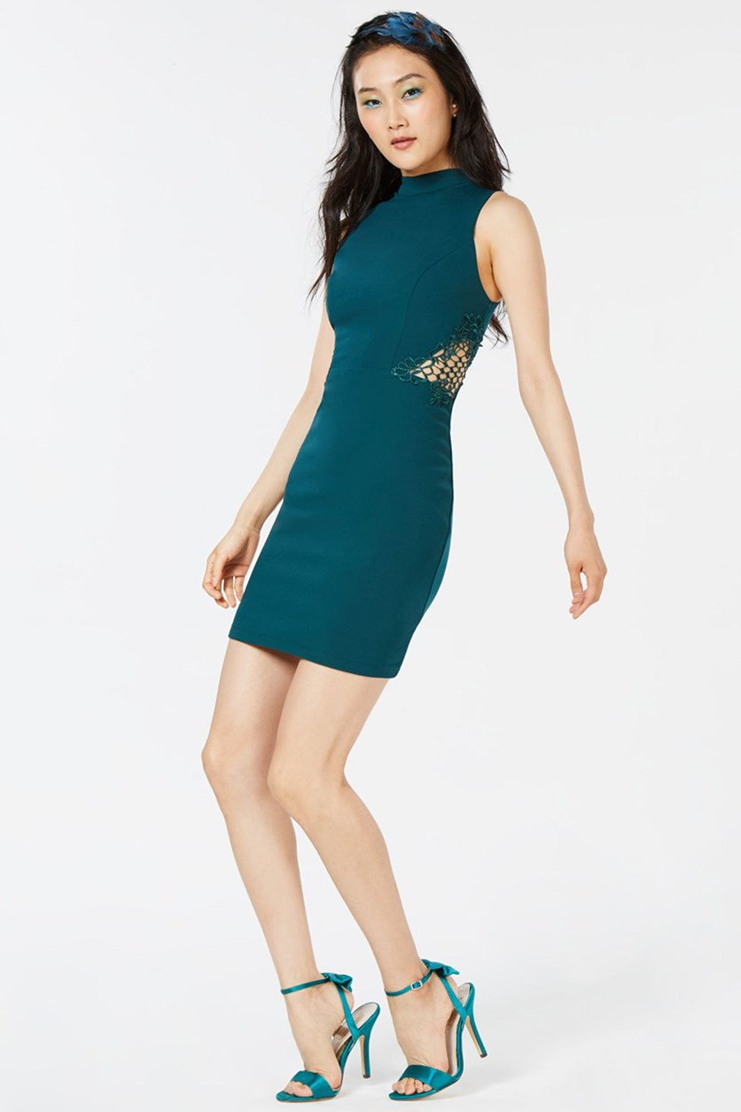 Juniors' Mock-Neck Bodycon Dress, Evergreen