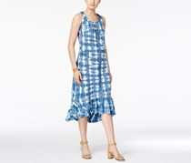Style & Co Women's Ruffle-Hem Tie-Dyed Dress, Blue