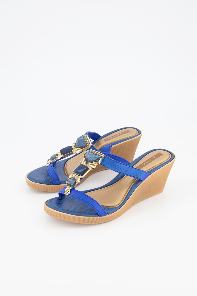 Women's Jewel III Wedge Sandals, Beige/Blue