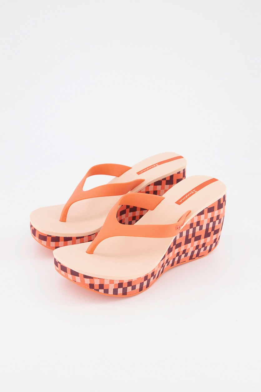 Womens Printed Wedge Sandals, Pink