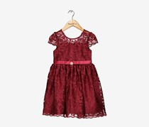 Rare Editions Floral-Embellished Mesh Dress, Maroon