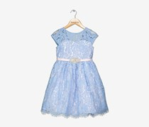 Rare Editions Lace Fit & Flare Party Dress,Blue