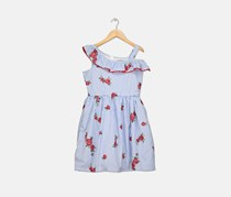 Rare Editions Floral-Embroidery Striped Dress, Blue