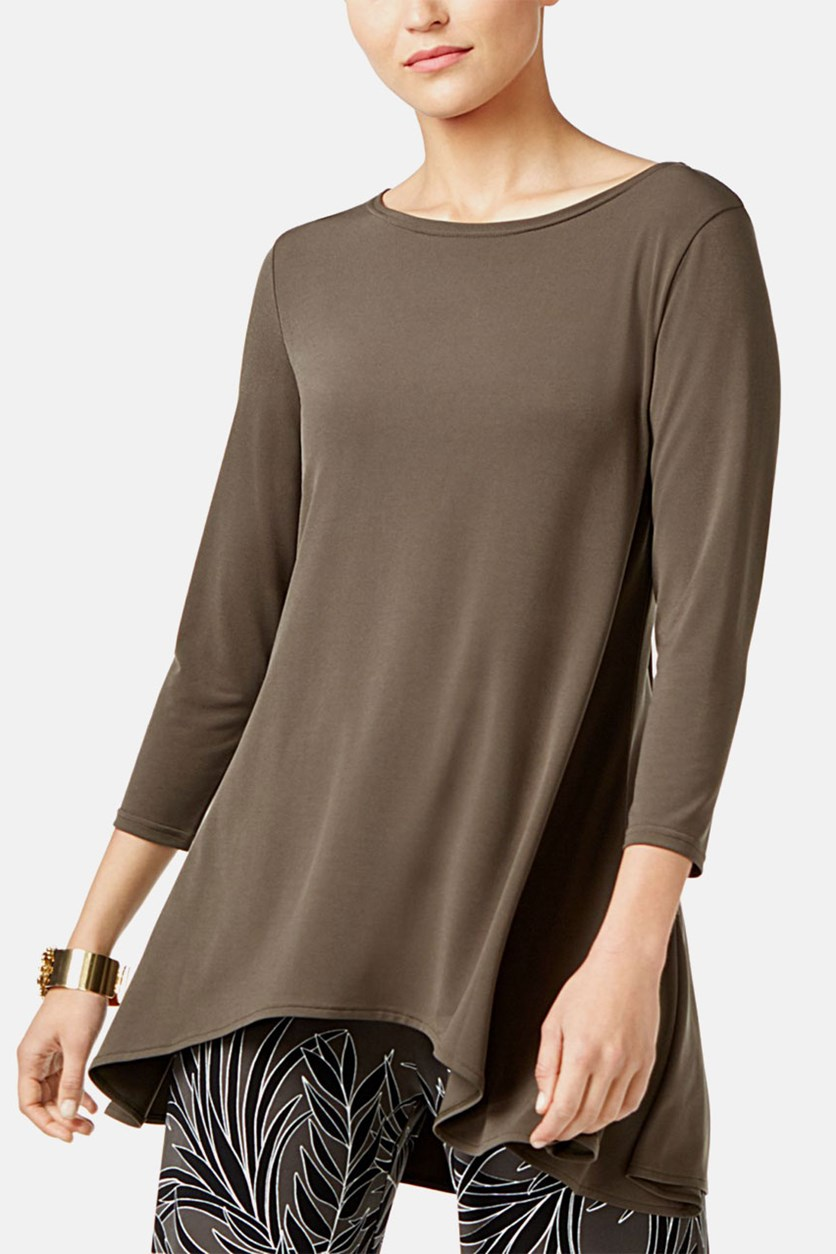 Petite High-Low Tunic Top, Urban Olive