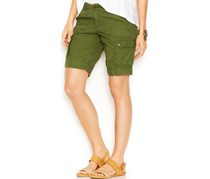Lucky Brand Women's Mid-Rise Cargo Bermuda Shorts, Olive