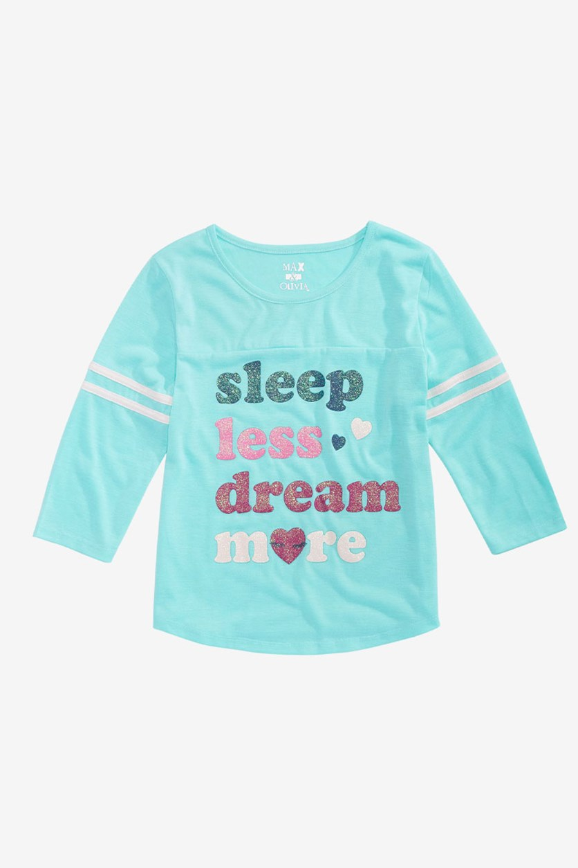 Big Girls Graphic-Print Pajama Top, Aqua