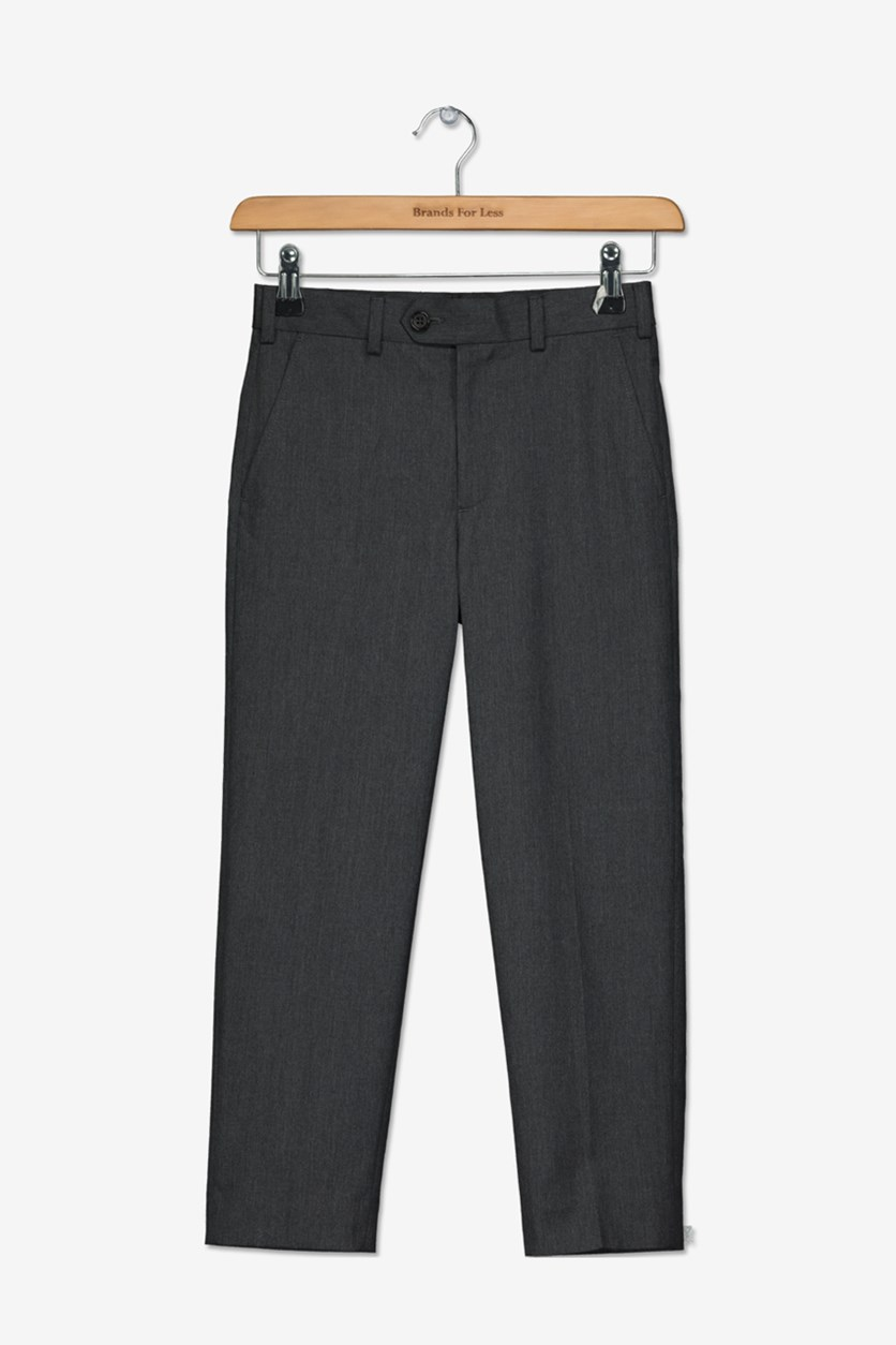Flat Front Trousers, Medium Grey