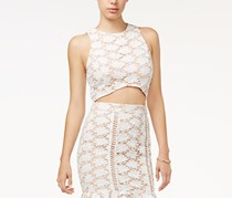 Endless rose Women's Crochet-Lace Crop Top, Beige