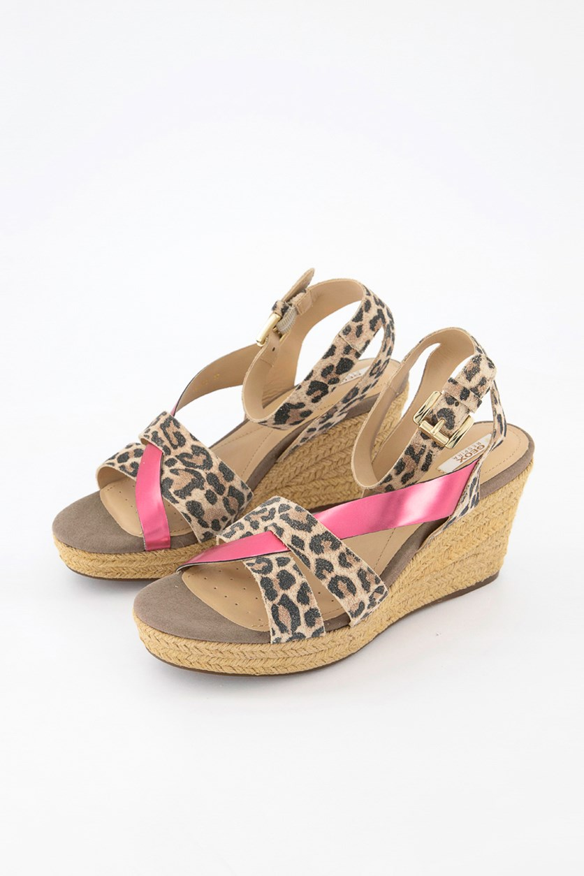 Soleil Wedge Sandal, Light Taupe/Coral