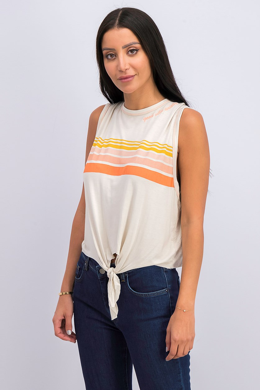 Womens Tie Front Stripe Tank Top, Oat