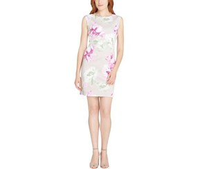 Tahari ASL Women's Scuba Floral Print Party Dress, Beige/Pink