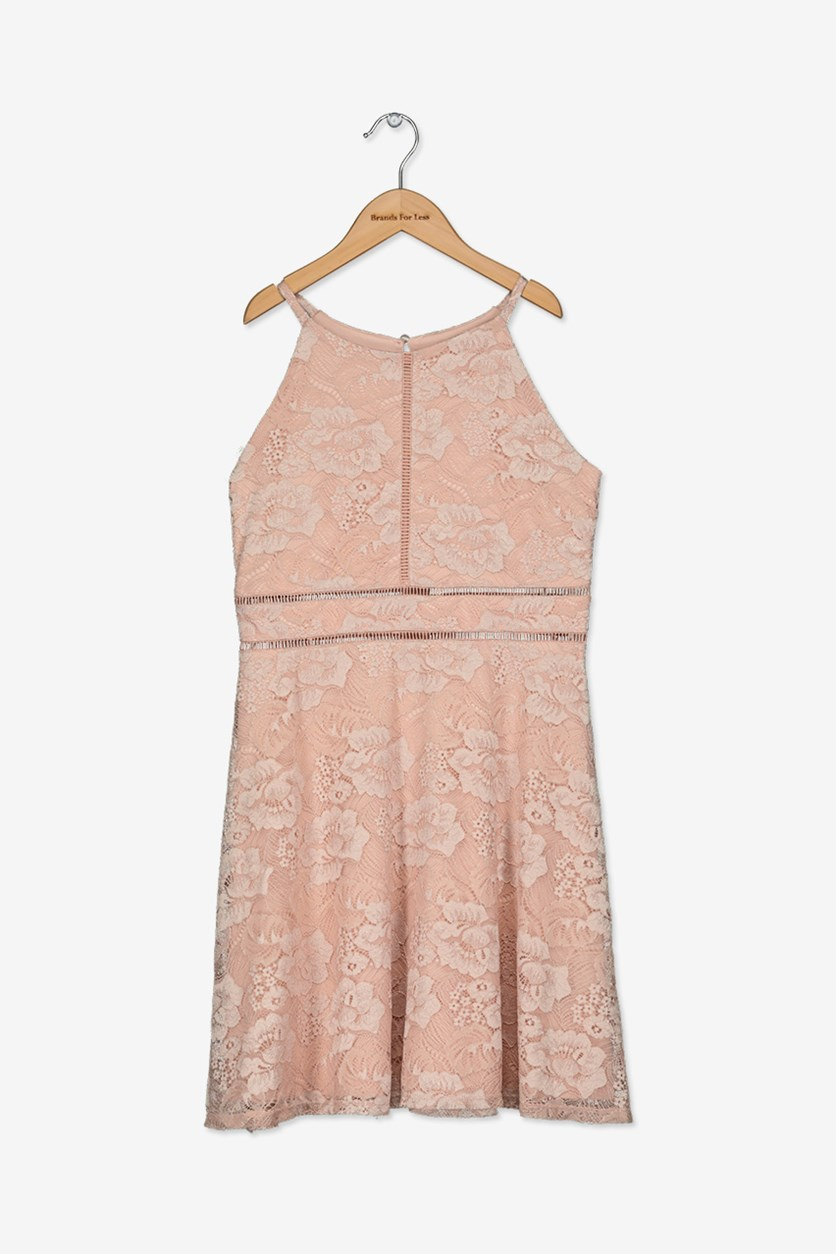 Girls Lace Skater Dress, Blush