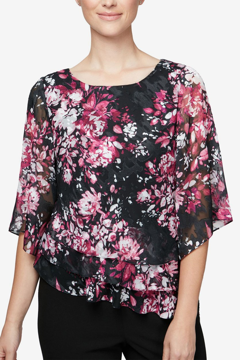Women's Petites Flutter Sleeve Floral Print Top, Black/Red Combo
