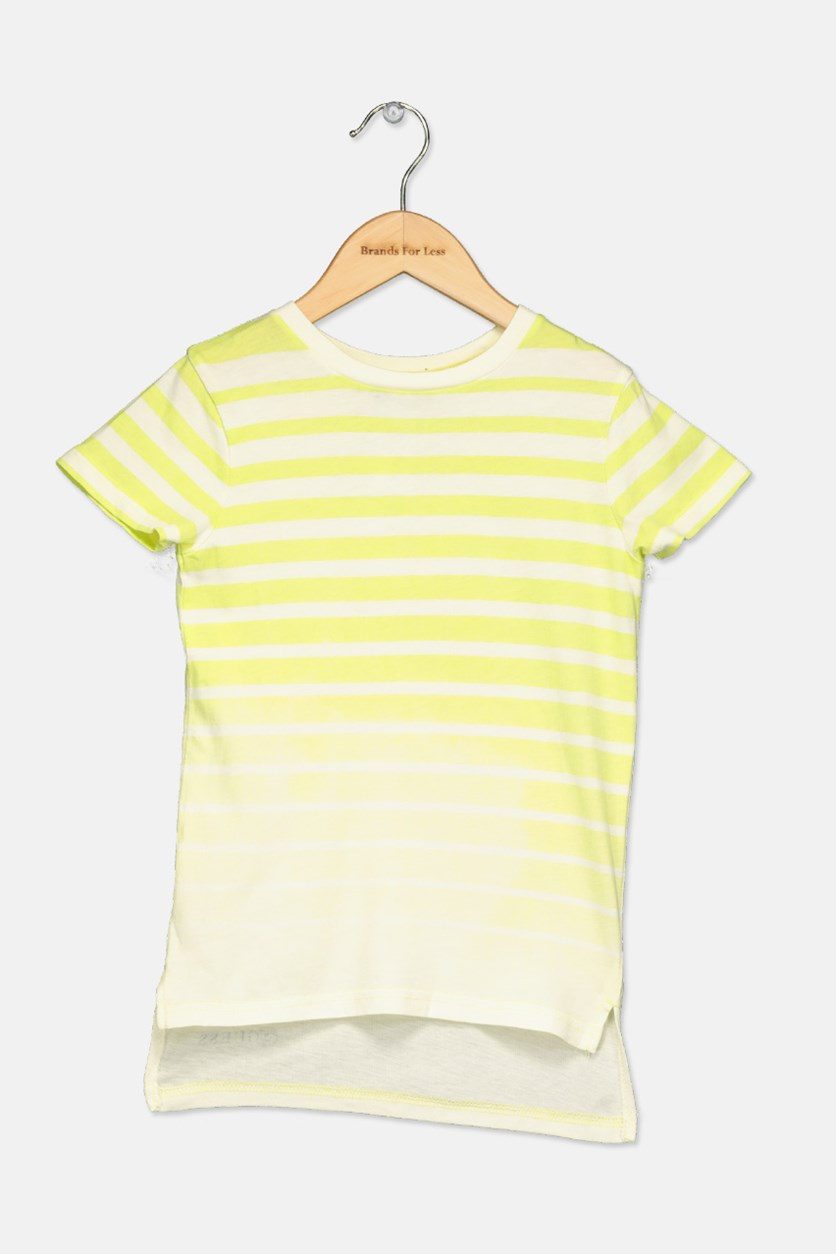 Toddlers Stripe High Low Tee, Lime