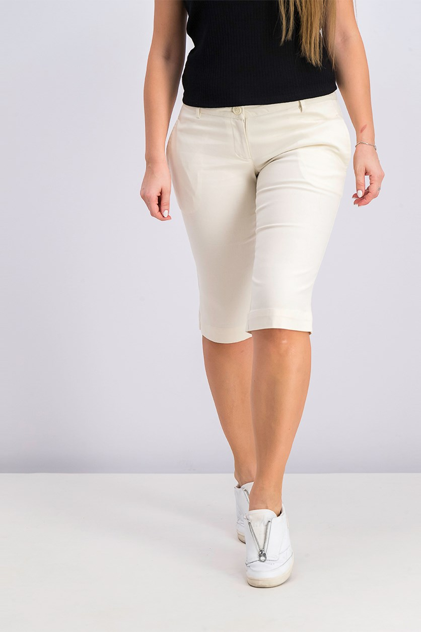 Women's Capri Pants, Cream