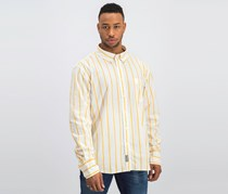 Fila Men's Striped Shirt, Orange/Ivory