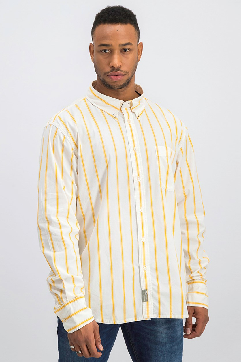 Men's Striped Shirt, Orange/Ivory