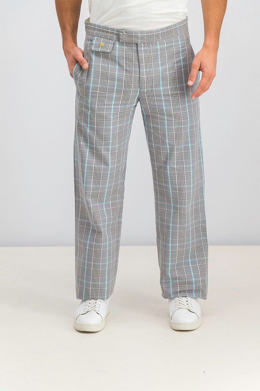 Men's Check Pants, Light Grey