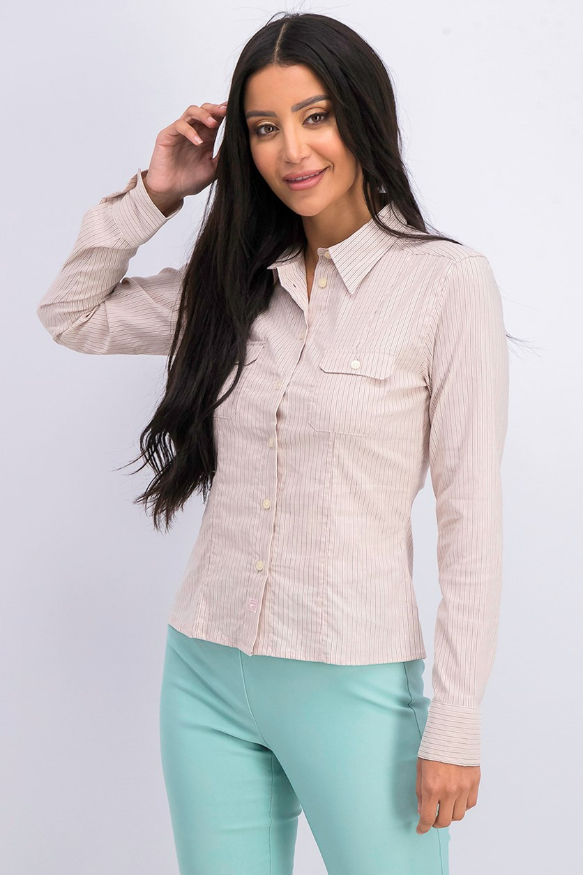 Women's Stripe Casual Shirt, Beige/Pink