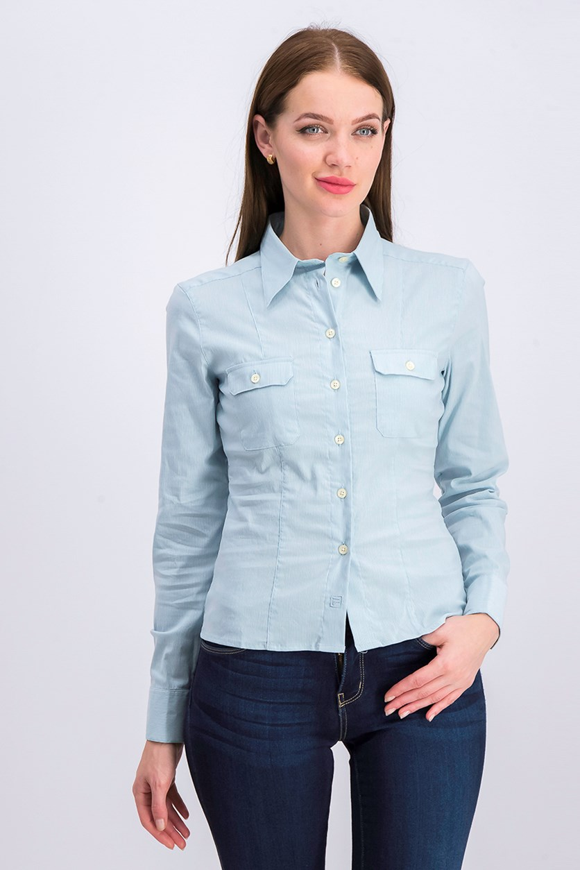 Women's  Pointed Neck Casual Shirt, Light Blue