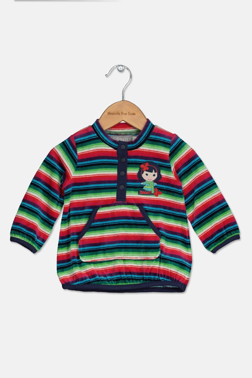 Toddler Girl's Striped Dress, Red/Green Combo