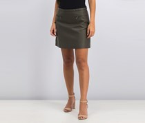 Mango Women's Zippered Leather Skirt, Brown Olive
