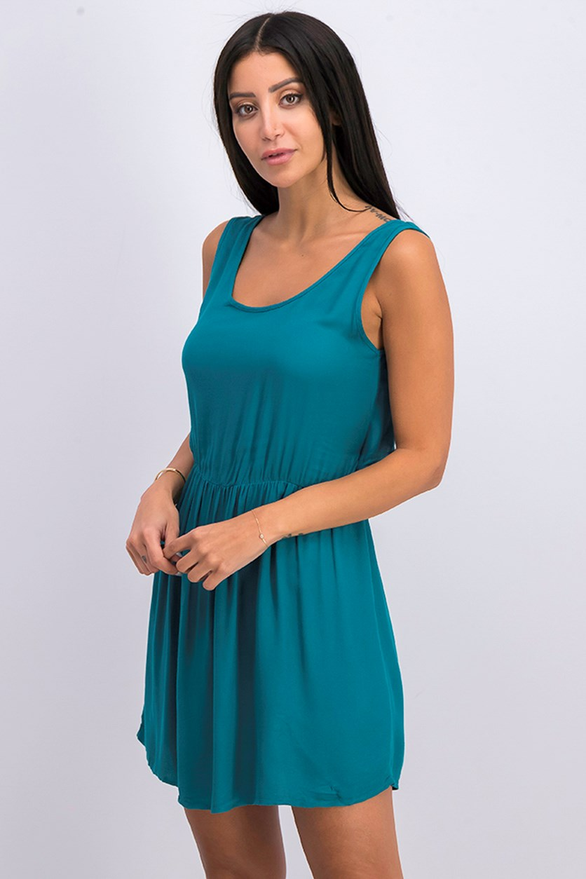 Women's  Cut-out Back Dress, Emerald Green