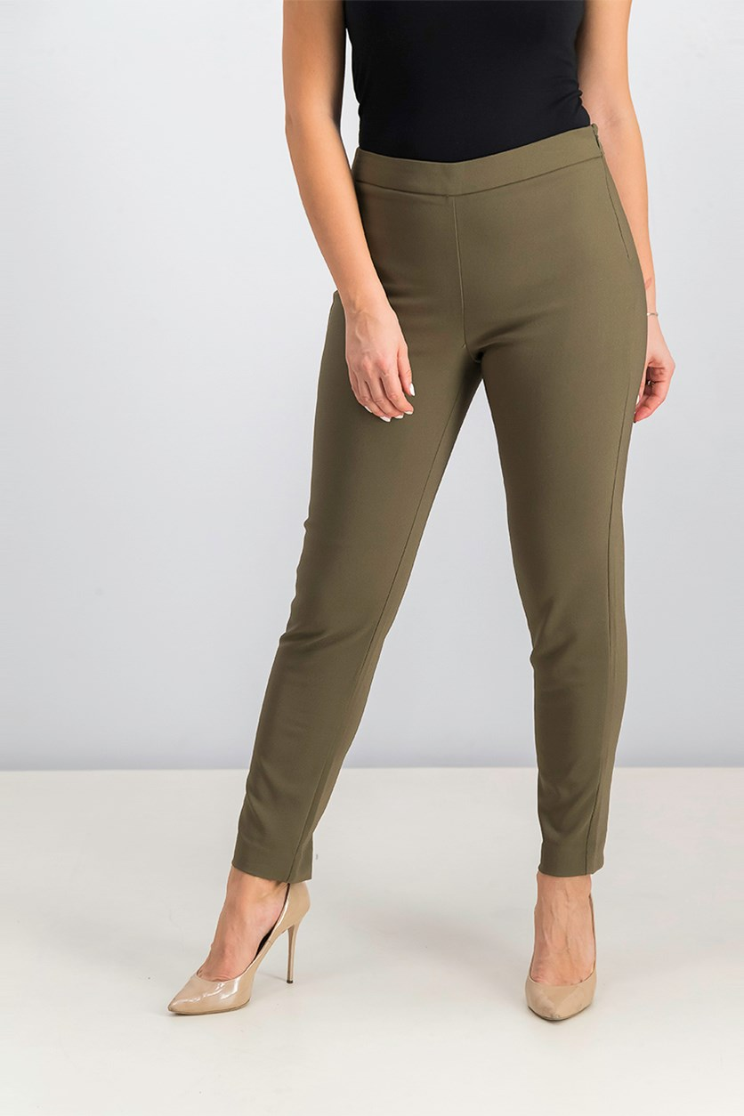 Women's Side Zipper Pants, Olive
