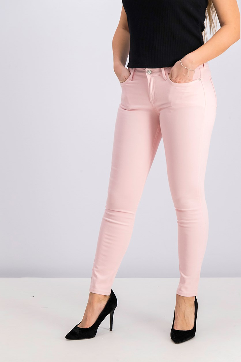 Women's Low Rise Skinny Jeans, Pink