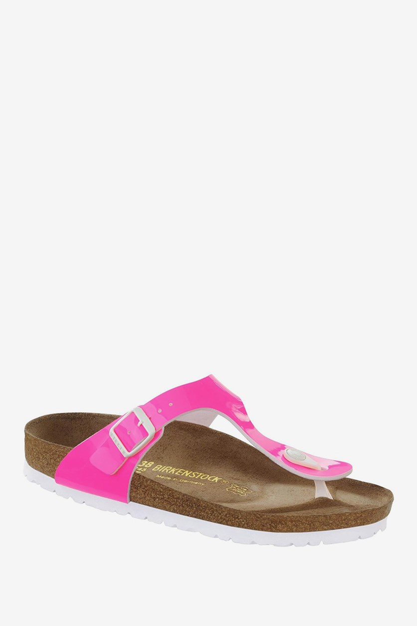 Women's Patent Gizeh T-Bar Sandals, Neon Pink