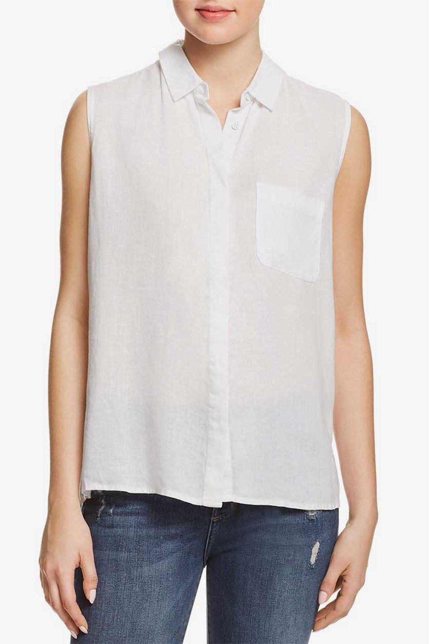DL1961 Women's Sheer Button-Down Top, White