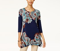 Jm Collection Women's Petite Printed Embellished Tunic, Navy