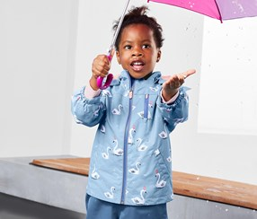 Baby Girl's Rain Jacket, Light Blue