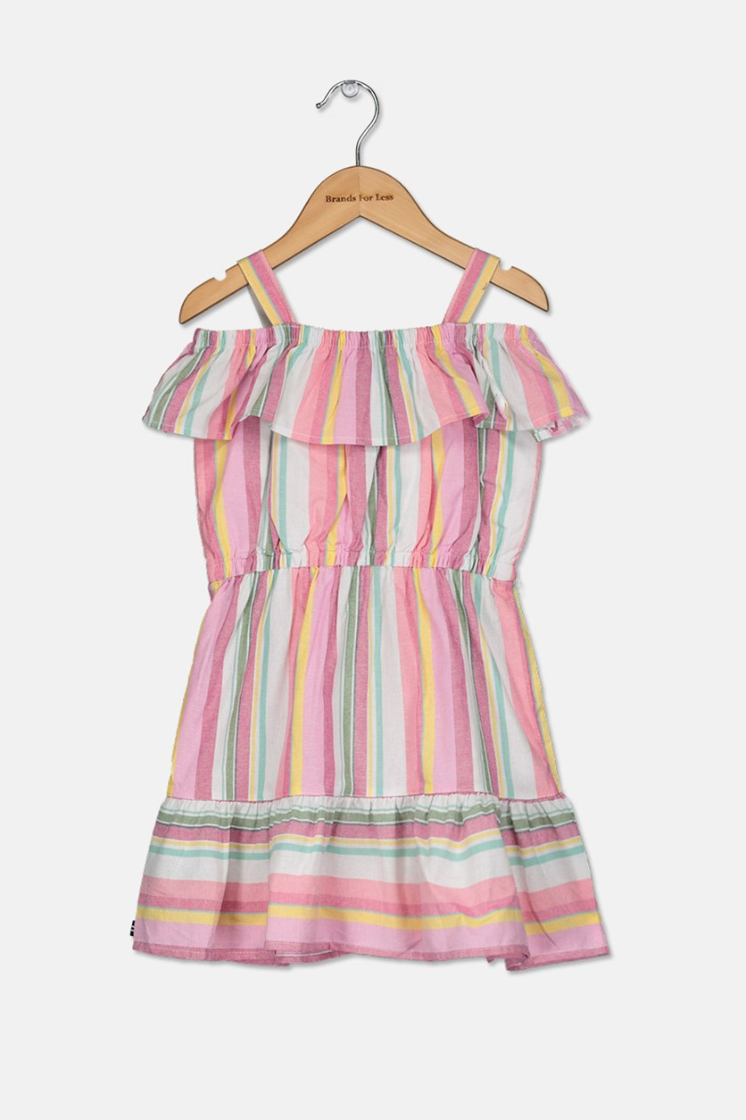 Little Girls Stripe Dress, Pink/White/Yellow