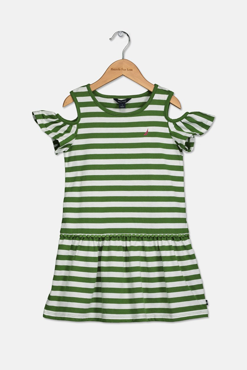 Girl's Striped Dress, White/Green