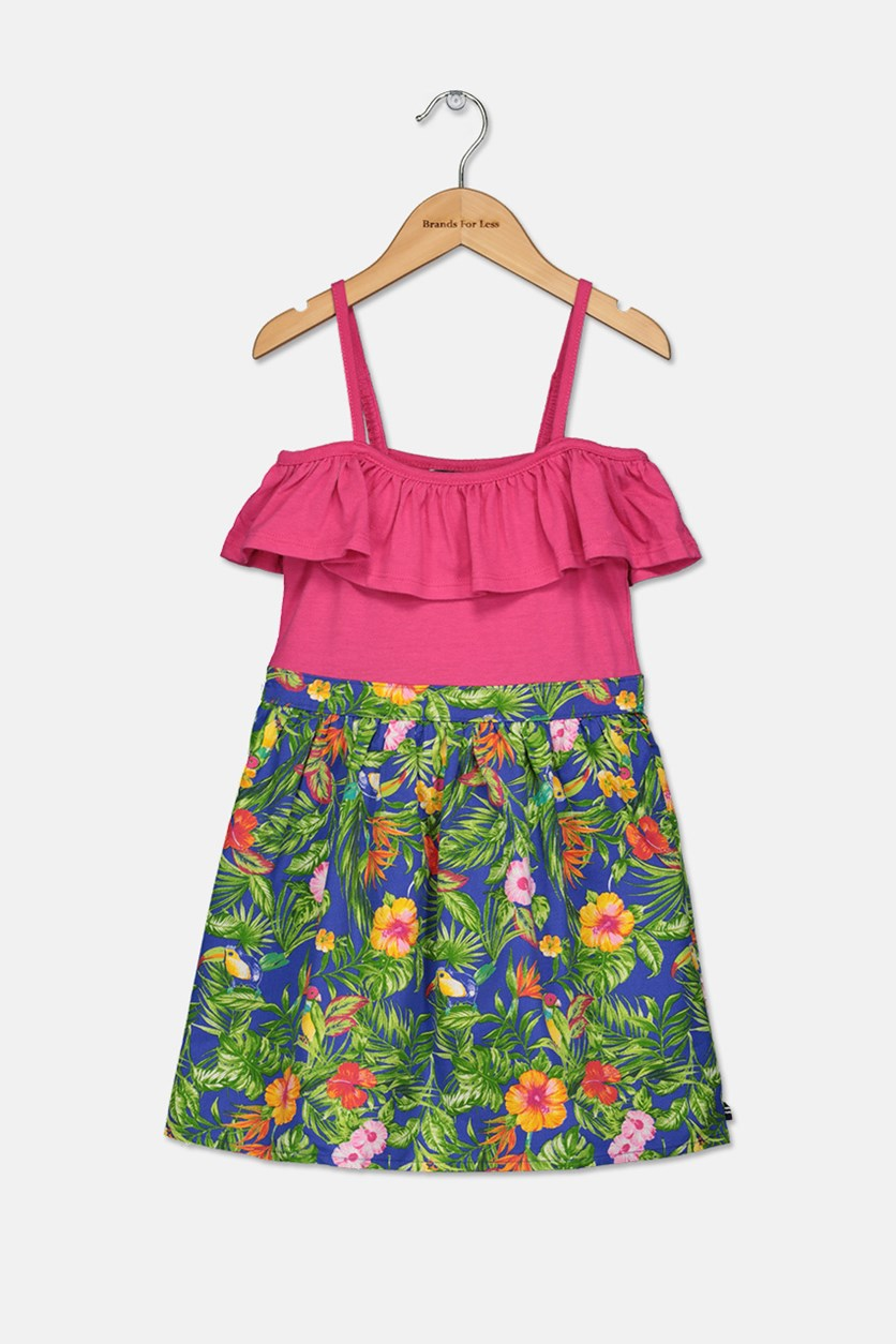 Little Girls Floral Print Dress, Dark Pink/Green