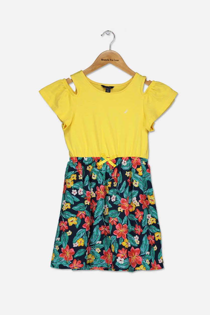 Big Girls Floral Dress, Yellow/Navy