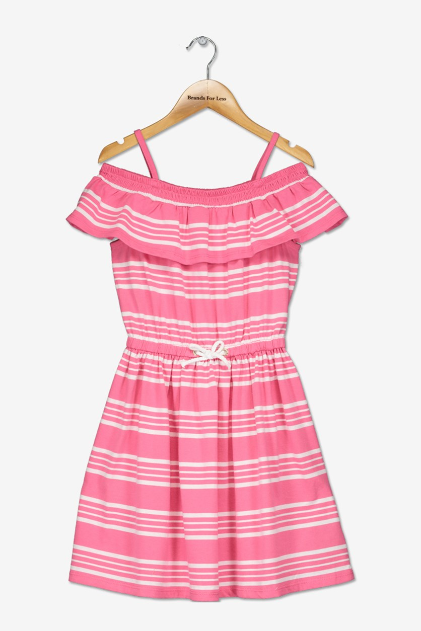 Girls Stripe Off-Shoulder Dress, Bright Pink