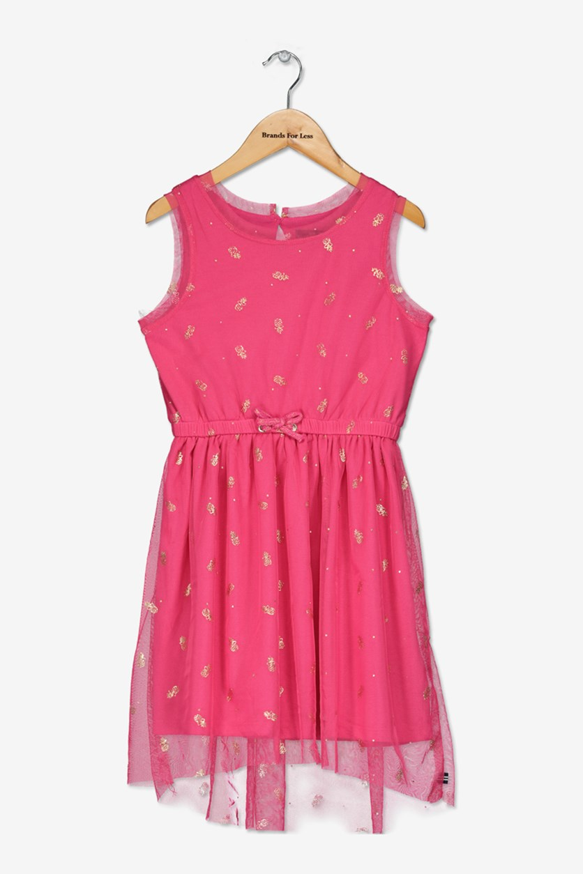 Big Girls' Pineapple Sheer-Layer A-Line Dress, Med Pink